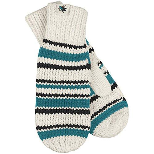 Reebok Womens Mitten - NHL Reebok San Jose Sharks Women's Striped Knit Mittens - White