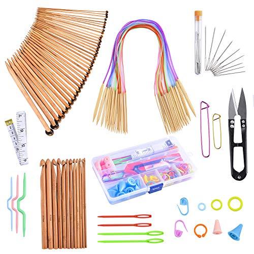 Knitting Needles Set-18 Pairs 18 Sizes Bamboo Circular Knitting Needles with Colored Tube 36 Pcs 18 Sizes Single Pointed Bamboo Knitting Needles 12 Pcs 12 Sizes Crochet Hooks Set Weaving Knitting Kits