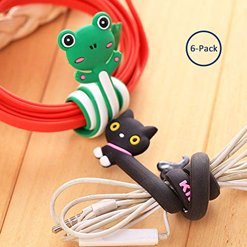 6 PCS Long Cartoon Cord Winder, Sarissa Color Random Fashion Lovely Strip Animal Shaped Plastic Earphone Line Winder