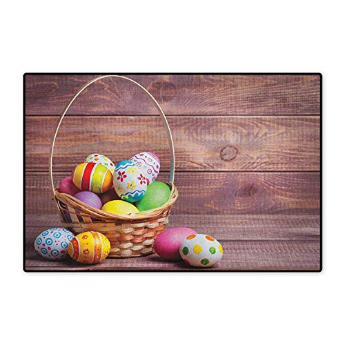 (Easter,Door Mat Increase,Colorful Eggs with Flowers and Polka Dots in a Weave Basket on Wooden Rustic Pattern,Floor Mat Pattern,Multicolor,Size,32