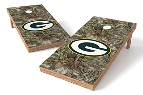 PROLINE NFL 2'x4' Green Bay Packers Cornhole Set with Bluetooth Speakers - Realtree Max-1 Camo Design ()