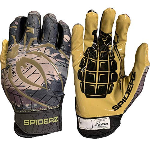 Spiderz RAW Extra Tacky Sticky Grip Football Receiver Gloves (Kaboom, Adult Large)