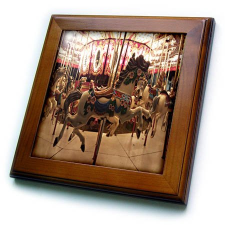 3dRose TDSwhite - Miscellaneous Photography - Hobby Horse Merry Go Round Carousel - 8x8 Framed Tile (ft_285318_1)