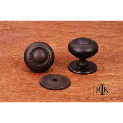 R.K. International CK 1212 RB Rki - Oil Rubbed Bronze large Rope Knob with Detachable Back - Bronze Aluminum Plate