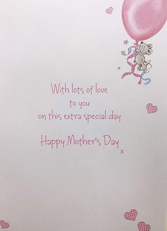 dc8ceca0da Feliz día de la madre deseo madrina tarjeta calidad con purpurina oso  versos de felicitación  Amazon.es  Oficina y papelería