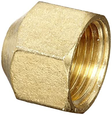 """Anderson Metals 56108 Brass Pipe Fitting, Cap, 1/2"""" NPT Female Pipe"""