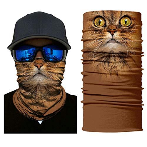 Headb 3D Seamless Animal Puppy Tube Shield Face Mask Motorcycle Ring Head Skull Scarf Men Women 1 ()