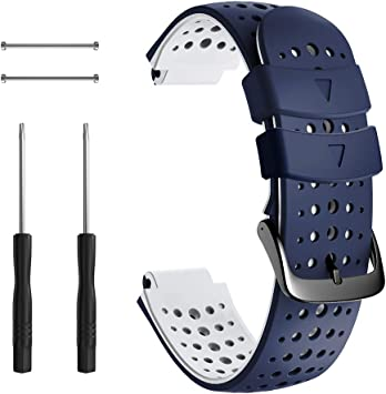 NotoCity Correa para Garmin Forerunner 235, Correa de Reloj de Silicona Suave Compatible con Garmin Forerunner 235/220/230/620/630/735 XT (Azul Oscuro+Blanco): Amazon.es: Electrónica