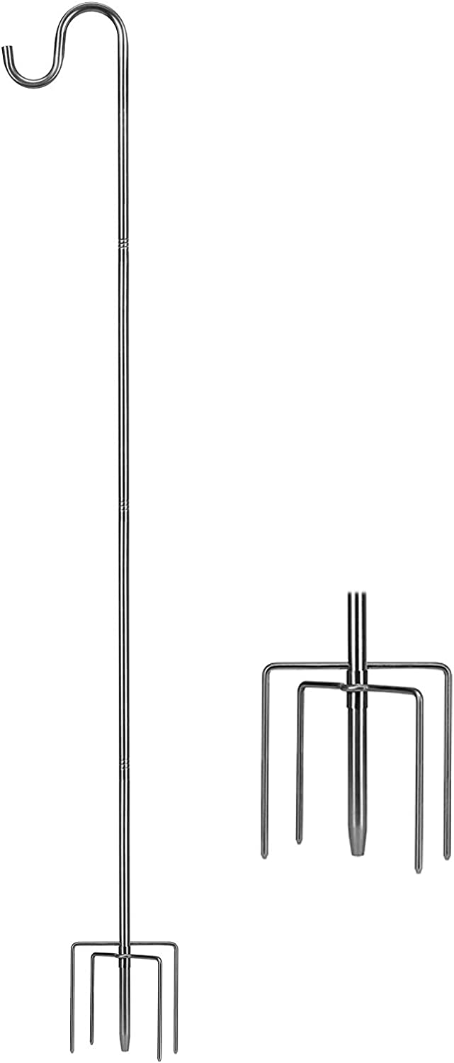 MIYA Shepherds Hook - 46 Inch Sturdy Bird Feeder Pole - Heavy Duty 5/8 Inch Thick 5 Prong Metal Hanger Hook for Hanging Outdoor Plants, Wreaths, Lanterns, Baskets, String Lights, and Other Decorations