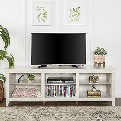 Tucker 70 Inch Television Stand in White Wash Finish - Fun Farmhouse Feel Made from High-grade MDF and durable laminate Accommodates most TVs up to 70 inches - tv-stands, living-room-furniture, living-room - 51h9mCH4LcL. SS400  -