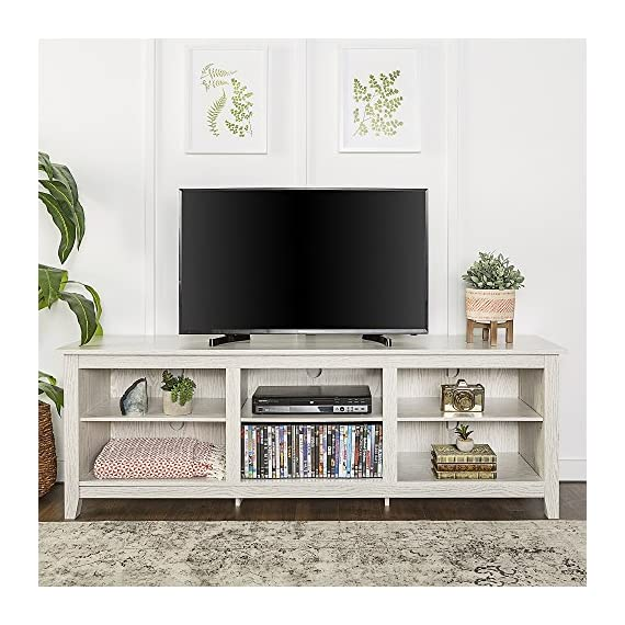 "New 70 Inch Wide Television Stand in White Wash Finish - Item ships within 1 business day! Any order that is received before 12:00 noon MST will ship out same business day!! OVERALL DIMENSIONS - (Left to Right) 70"" L x (Front to Back) 16"" W x 23 1/2"" H SHELF DIMENSIONS - Side Shelves - (Left to Right) 20 3/8"" L x (Front to Back) 14 1/8"" D, Middle Shelves - (Left to Right) 19 5/8"" L x (Front to Back) 14 1/8"" D, Adjustable Shelving - tv-stands, living-room-furniture, living-room - 51h9mCH4LcL. SS570  -"
