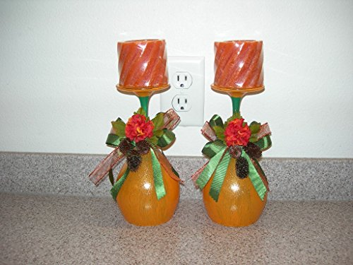 Hand Crafted Orange and Green Pumpkin Themed Wine Glass Pillar Candle Holders Pillar Pumpkin