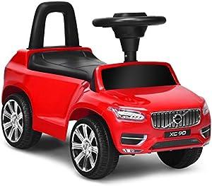 Costzon 2 in 1 Kids Ride on Push Car, Licensed Volvo Ride on Racer w/ Steering Wheel, Horn, Music, Under Seat Storage, Handle, Sliding Pushing Cart, Foot to Floor Push Car Toddlers, Boys & Girls (Red)