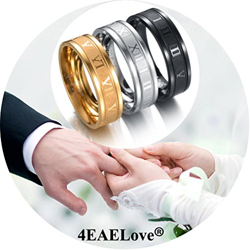 4EAELove Stainless Steel Couples Ring Roman Numerals Ring Titanium Engraved Promise Ring Wedding (Silver, ()