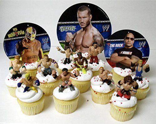 WWE 13 Piece Wrestler Rumblers Wrestling Birthday CUPCAKE Cake Topper Set Featuring 10 RANDOM WWE Rumbler Figures and 3 Random WWE Themed Backdrops ()