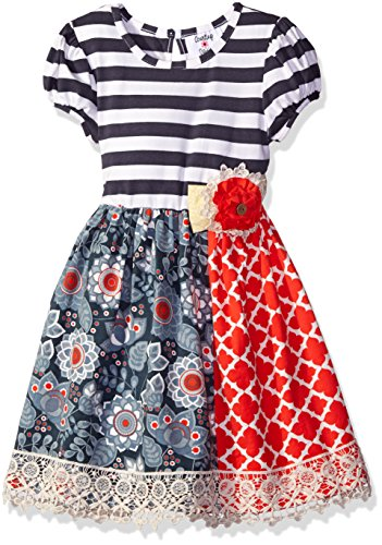 Rare Editions Little Girls' Ivory Stripe Bodice to Mix Print Knit Skirt, Gray, 4