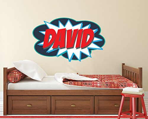 Personalized Comic Name Wall Decal for Boys Superheroes Nursery Baby Room Mural Art Decor Vinyl Sticker LD09 (28