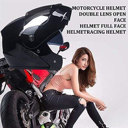 HoganeyVan Casco de Motocicleta Lente Doble Casco de Cara Abierta Casco de Cara Completa Casco de Carrera Casco de Carrera Casco Unisex de Doble Uso