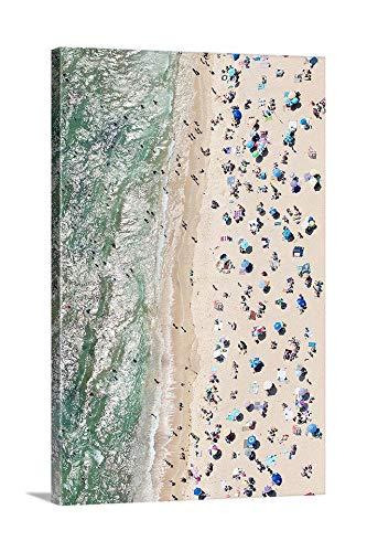 Dwi24isty Canvas Print Canvas Art Wrap Aerial Beach Photo Oversized Coastal Art Sunbathers Umbrellas Sand Print Misquamicut Westerly Ri Photography Bedroom Bathroom Decoration Wall Art Wall Decor