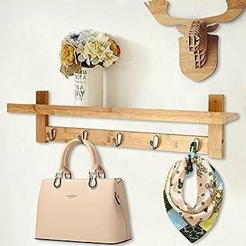 Amazon.com: Kate and Laurel Skara Wood Wall Coat Rack with 5 Metal ...