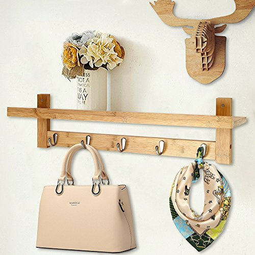 Genenic Coat Hooks Shelf with 5 Chrome Hooks Wall Mounted Coat Rack with Storage Shelf, Hanging Entryway Shelf for Living Room Bedroom Bathroom and Kitchen Chrome 5 Hook Coat