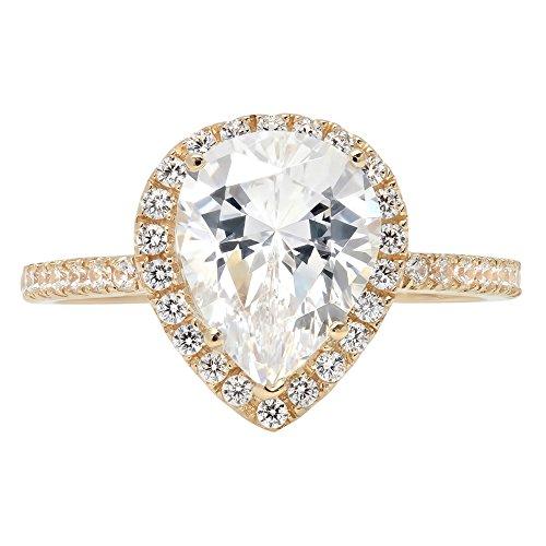 2.25ct Brilliant Pear Cut Halo Wedding Anniversary Engagement Statement Bridal Ring 14k Yellow Gold, 4
