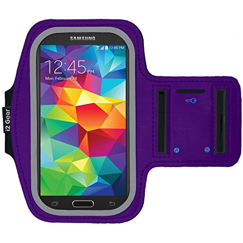 Running and Exercise Workout Armband Case for Samsung Galaxy S6 S5 S4 iPhone 6 6S, Google Pixel, and HTC One Mobile Cell Phones with Adjustable Sport Band, Reflective Border and Key Holder (Purple)
