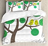 Animal Nature Decor Queen Size Duvet Cover Set by Ambesonne, Colorful Yellow Birds on Green and Brown Tree Wildlife Park Cartoon Fun Art Print, Decorative 3 Piece Bedding Set with 2 Pillow Shams