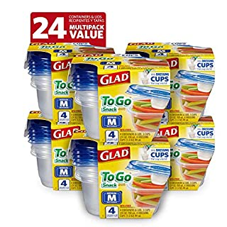 Glad to Go Lunch Food Storage Containers, Medium Round (32 Oz) -4 Count, Standard