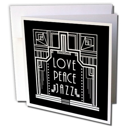 3dRose White On Black Art Deco Design- Love Peace and Jazz Greeting Card (gc_241506_5)