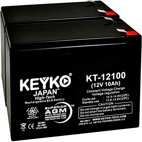 Power Source BT-12M12AC 12V 10Ah / Real 10.0 Amp SLA Sealed Lead Acid AMG Rechargeable Replacement Battery Genuine KEYKO - F2 Terminal - 2 Pack
