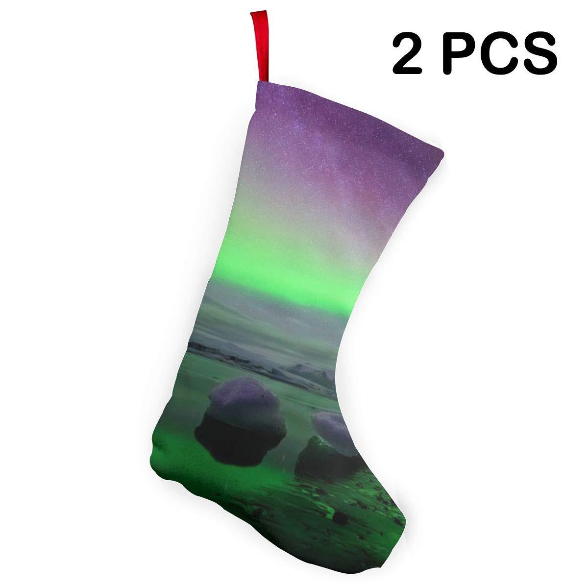 Amazon.com: HIUiz Iceland Northern Lights Christmas Stockings ...
