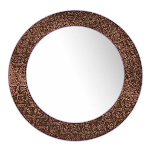 DecorShore Frontiers Collection - Rustic Farmhouse Decor Accents - Copper Queen Pressed Copper Decorative Wall Mirror, 24