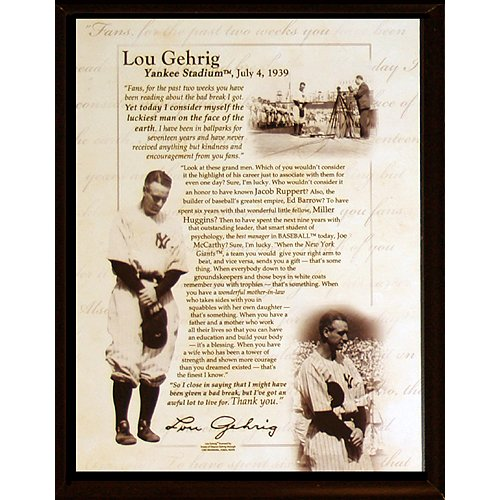 Lou Gehrig Memorabilia - Steiner Sports MLB New York Yankees Lou Gehrig Speech 8 x 10-inch Plaque