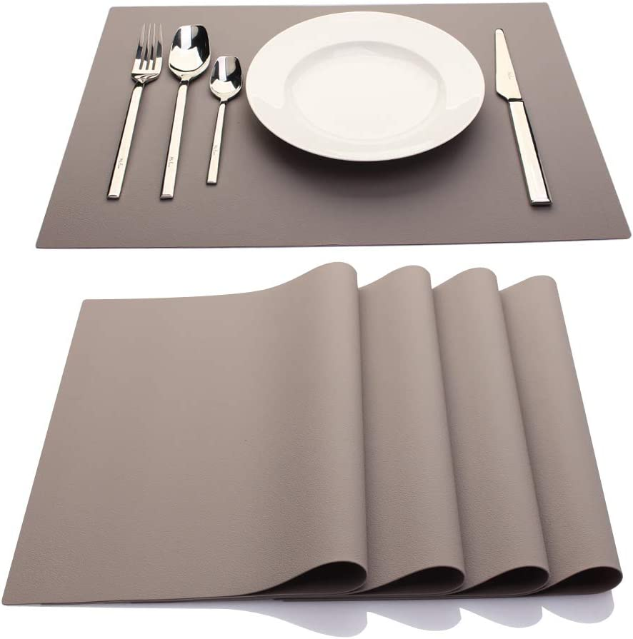IYYI Silicone Placemats,Placemats for Kids,Placemats Set of 4 Waterproof Heat Resistant Non-Slip Kitchen Table Mats for Dining Table, Easy to Clean (Khaki)