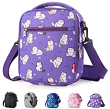 Kids Lunch box Insulated Soft lunch Bag Mini Cooler Thermal Meal Tote Kit with Handle and Pocket for Girls Boys Cute Cat Purple Practical Gift Idea