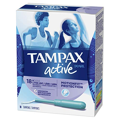 Tampax Pearl Active Tampons, Light Absorbency, 18 Count