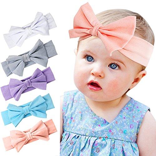Tacobear Baby Girl Headbands with Bow Elastics Head Wrap Hair Accessories 5PCS for Infant Cute Baby Headbands