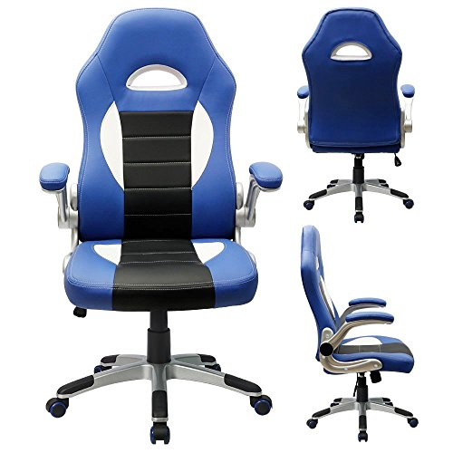 Furmax Ribbed Office Chair High Back Pu Leather Executive