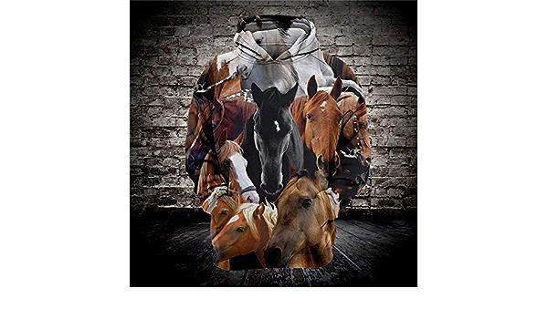 Sudaderas con Capucha F129 XXXL Gbcyp Fashion Casual Sudadera con Capucha 3D para Hombre con Estampado de Caballo Animal Sudadera con Capucha Suelta