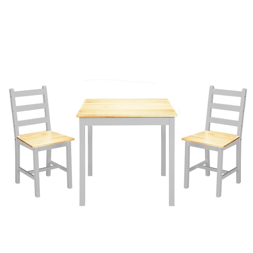 furniture-uk-shop Ensemble Table en Bois + 2 Chaises pour Salle à Manger, Cuisine, Séjour, Poids:17kg, Coloris au Choix