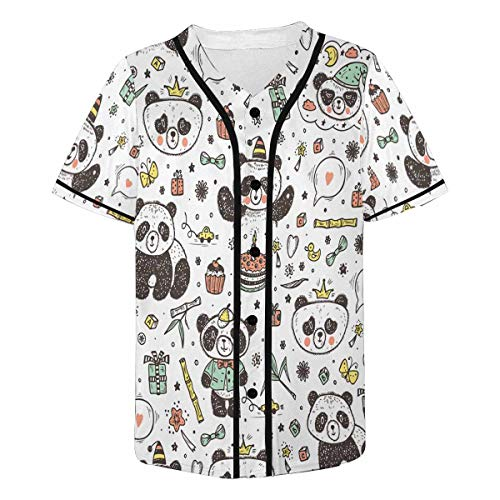 INTERESTPRINT Men's Cute Baby Pandas Baseball Jersey T-Shirts Plain Button Down Sports Tee XL