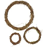 Grapevine Wreath Set – 3-Piece Vine Branch Wreath, Decorative Wooden Twig for Craft, Decor, Door, House, Holiday – 3 Sizes, Large, Medium, Small