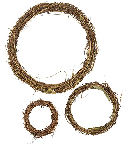 Grapevine Wreath Set - 3-Piece Vine Branch Wreath, Decorative Wooden Twig for Craft, Decor, Door, House, Holiday - 3 Sizes, Large, Medium, Small