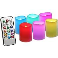 EverBrite 6PC Velas LED Electrónica 12-Color Control Remoto Temporizador de 4H/8H, LED Candle Sin Llama para Navidad…