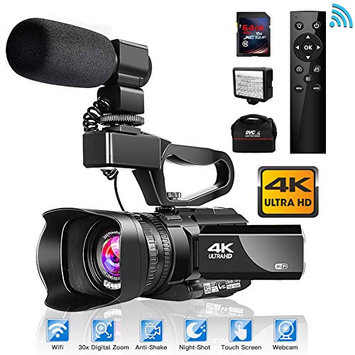 Video Camera 4K Camcorder with Microphone 48MP Vlogging Camera WiFi YouTube Camera IR Night Vision 3″ Touch Screen 30X Digital Zoom Camera Recorder with 360°Wireless Remote Control and Lens Hood