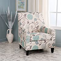 Irena Ivory and Blue Floral Fabric Club Chair