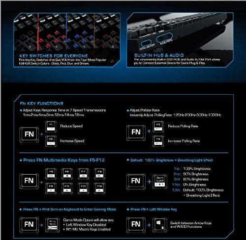 Mechanical Gaming Keyboard Brown Switch LED Backlit Full Mechanical Keyboard with 104 Keys