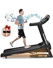 Famistar 3.5HP Folding Treadmill, 15% Auto Incline 300LBS+ Capacity Running Machine with LCD Display Smart Shock-Absorbing System, 12 Programs, Easy Assembly&Space Saving for Home Office Workout