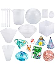 Augshy 8 Pack Resin Casting Molds Large Clear Silicone Molds with 5 Plastic Stirrers for DIY Jewelry Craft Making Home Decoration